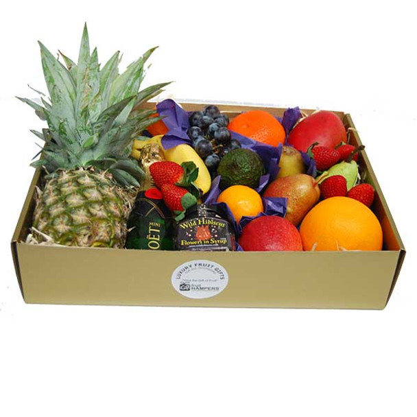 Fruit Hampers + Champagne + Hibiscus Flowers