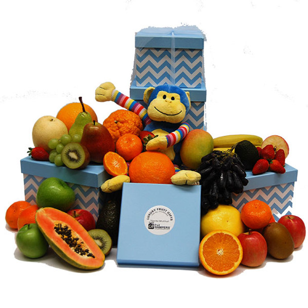 Baby Gift Idea - Blue Monkey Tower with Fresh Fruits