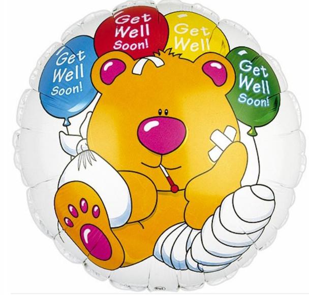 "Foil Balloon 9"" (22.5cm Dia) Round Bear Get Well Get Well Soon Teddy Bear Balloon"