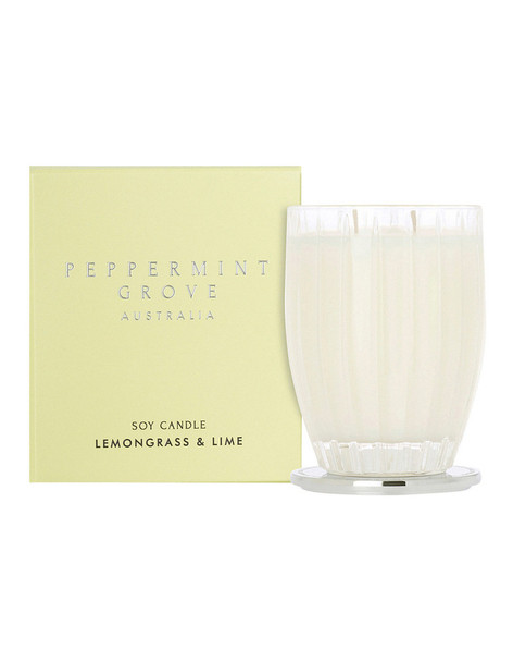 Lemongrass + Lime Large Candle 350g - Peppermint Grove Candles