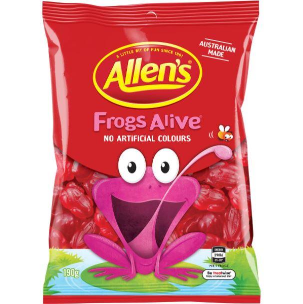 Allen's Frogs Alive Lollies Bag 190g