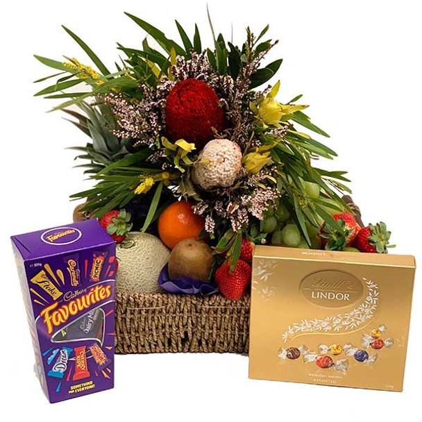 Gift Basket + Native Flowers + Chocolates - Get Well, Birthday All Occasions