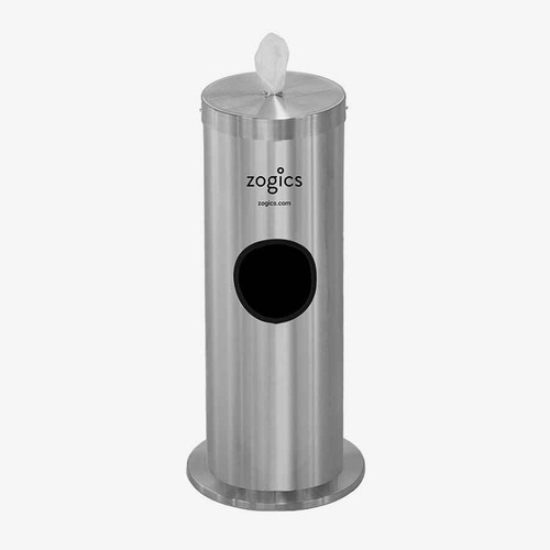 Zogics Floor Stand Gym Wipes Dispenser and Waste Receptacle, Satin Aluminum