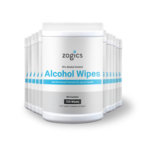 Zogics 75percent Alcohol Surface Disinfecting Wipes Tub 150 wipes/tub, 12 tubs/case