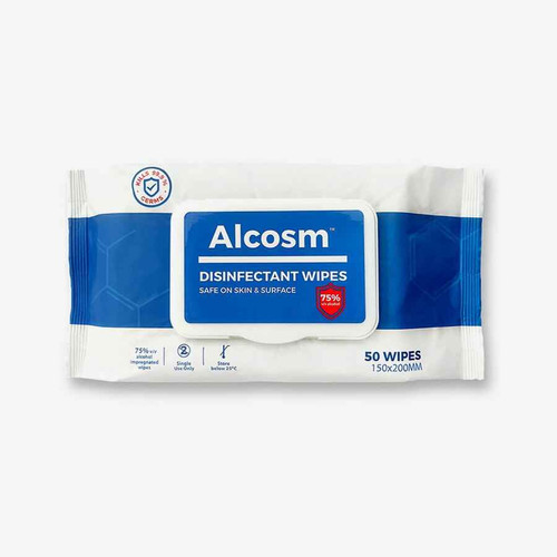 Alcosm Alcosm 75percent Alcohol Sanitizing Wipes, Fragrance-Free, 50 wipes/pack