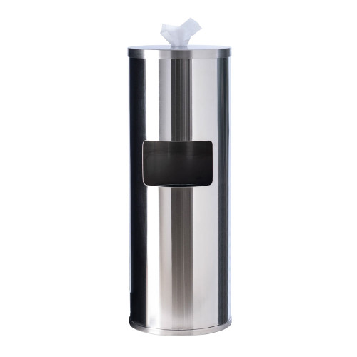 Stainless Steel Wipes Dispenser with Door and Trash Receptacle