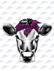 Cow Head with Purple Leopard Bandanna  Sublimation Print