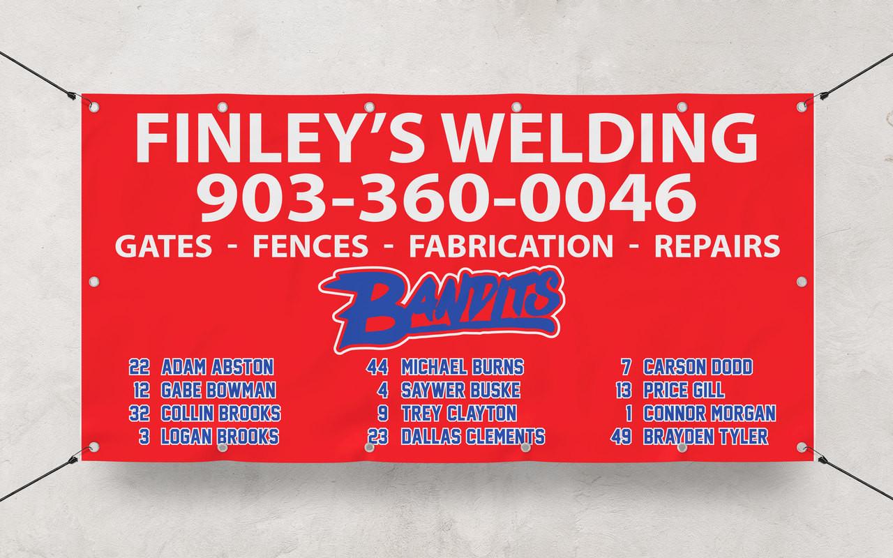 Custom Banner printing 3' x 5' banner for Baseball dugout banner for Finley's Welding