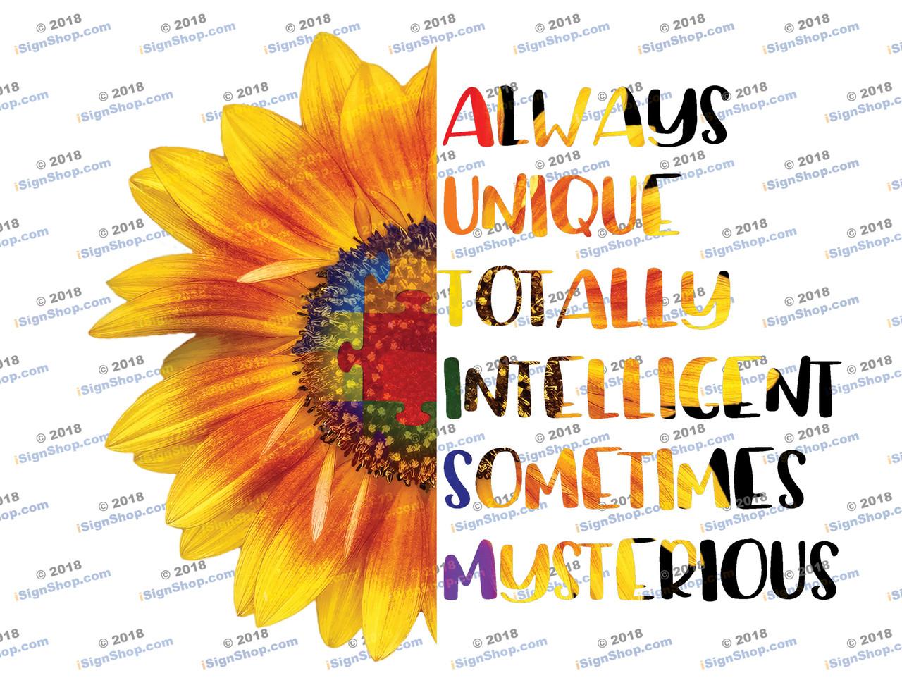 Autism Sunflower Sublimation Print
