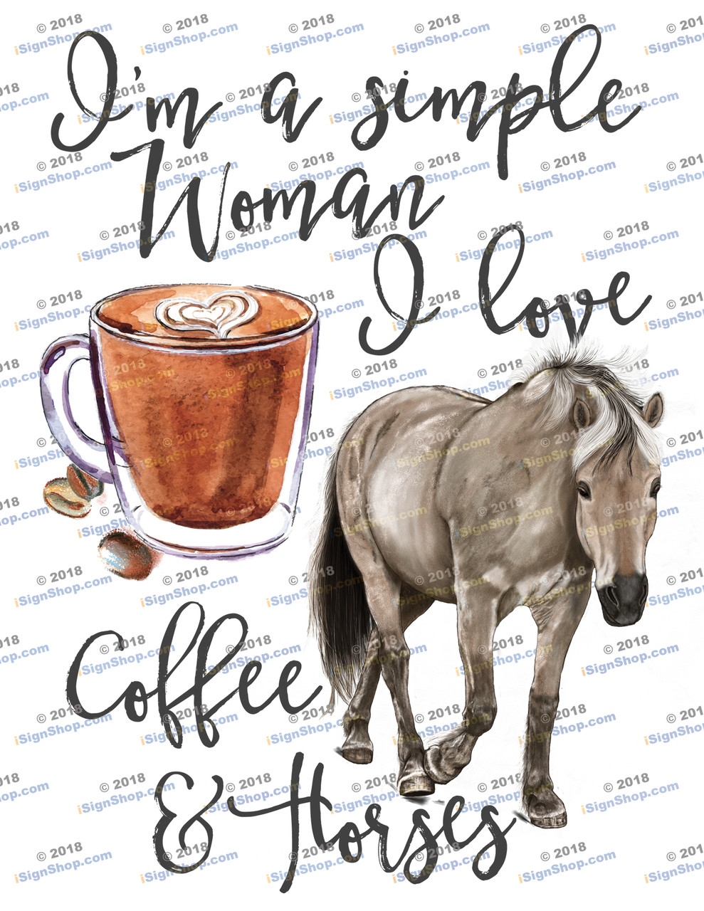 Im a simple woman i love coffee and horses Sublimation Print