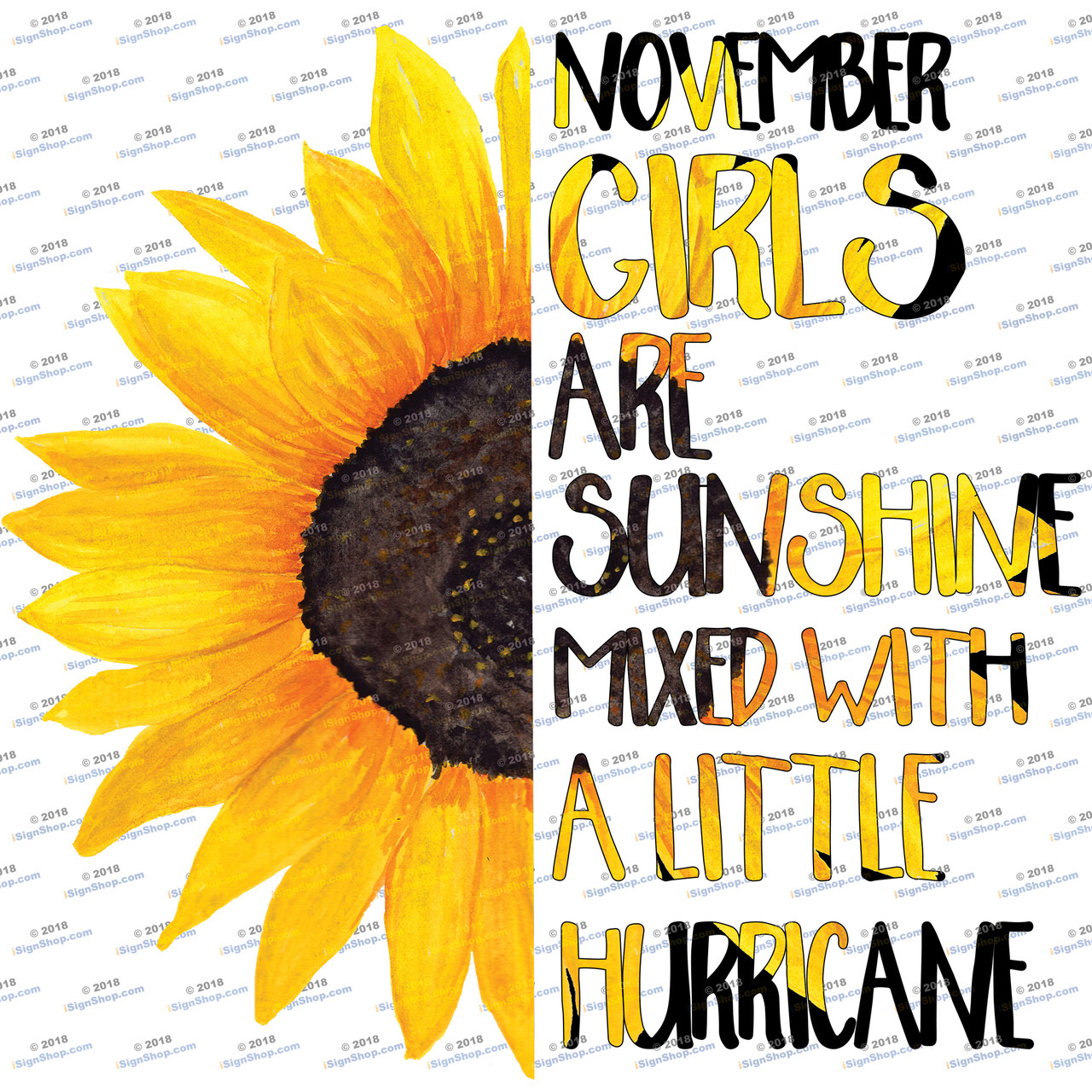 November girls are sunshine mixed with a little hurricane Sublimation Print