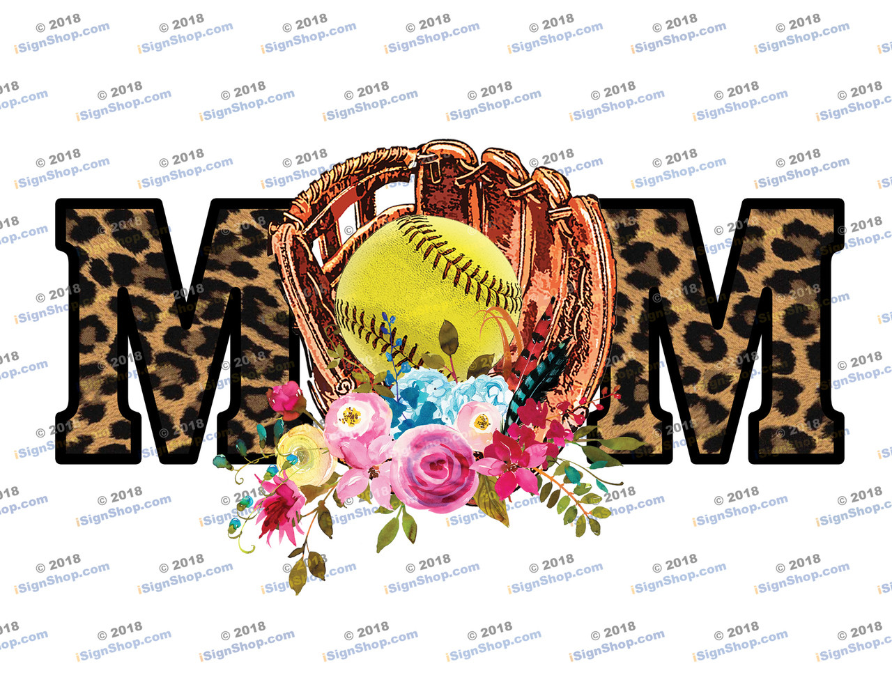Softball Mom Leopard Sublimation Print