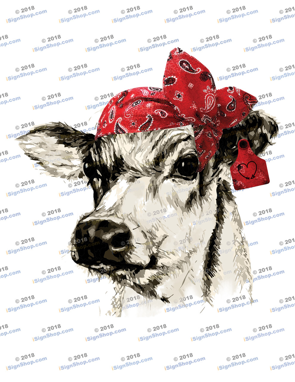 Dairy Cow Head with Red Bandanna Sublimation Print