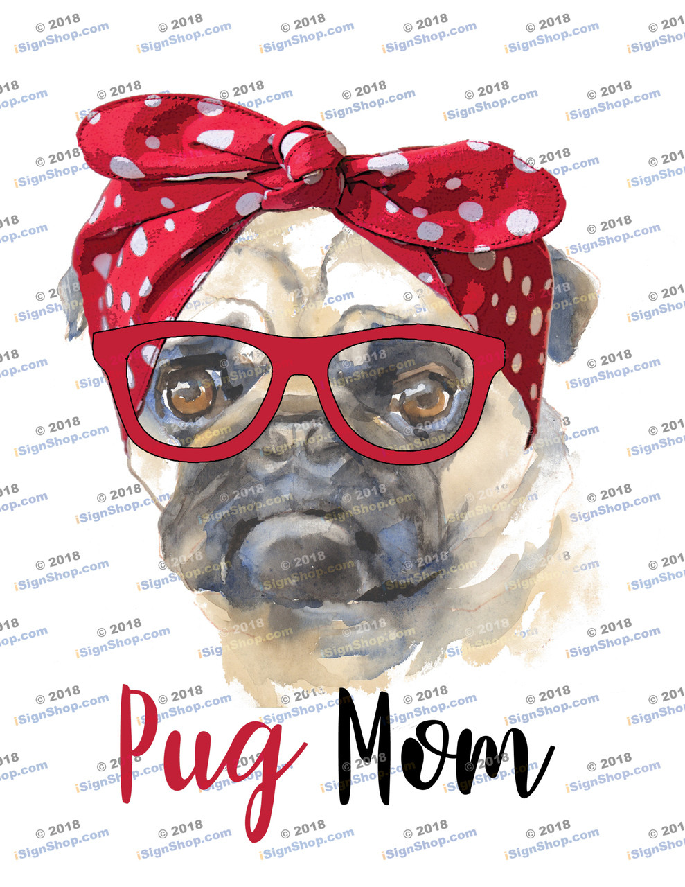 Pug Mom Sublimation Print