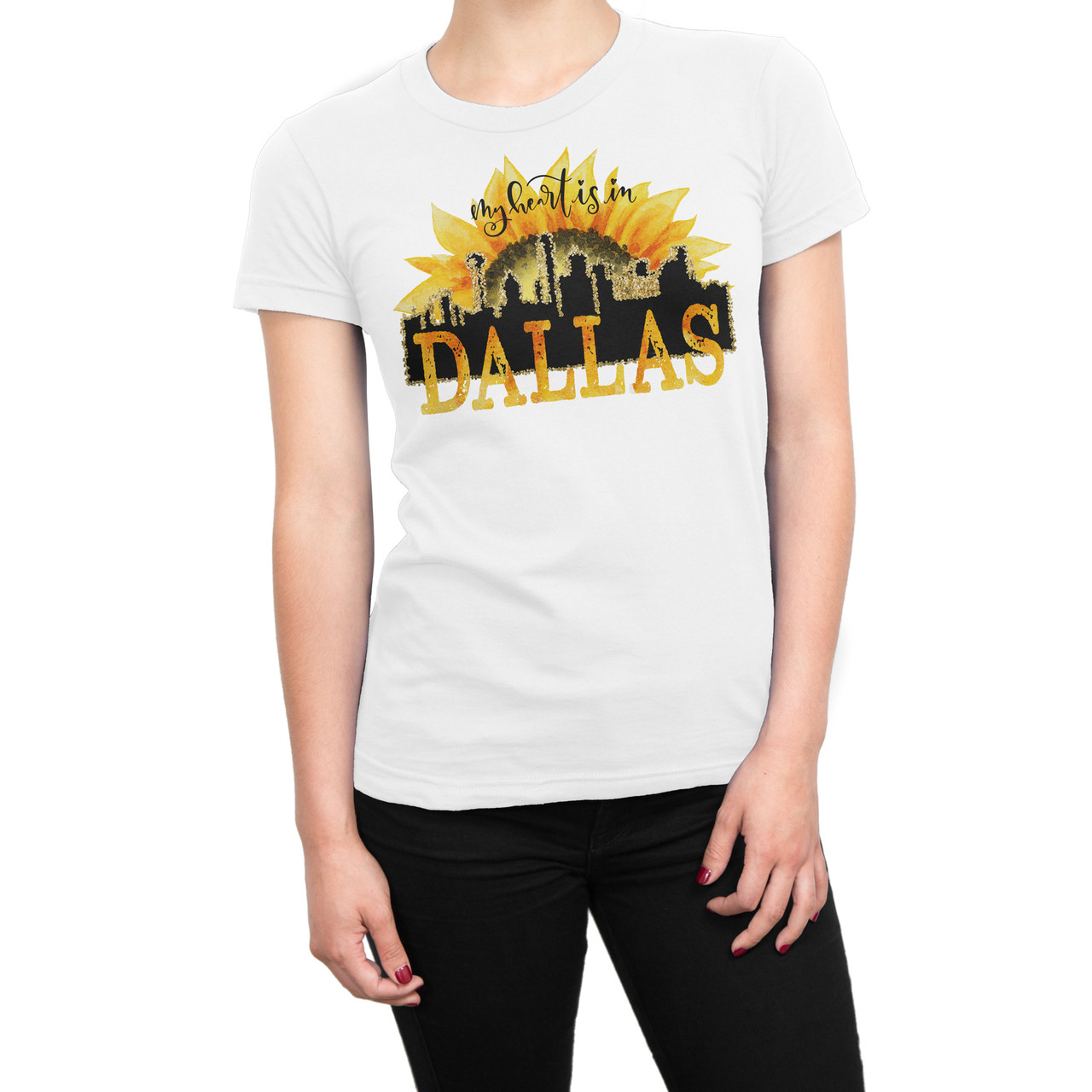 My heart belongs to Dallas Sublimation printed t-shirt. Printed on White Gildan 100% polyester soft shirt