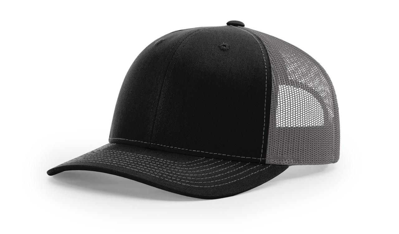 Richardson 112 Trucker Cap Split Black / Charcoal Cap Embroidered