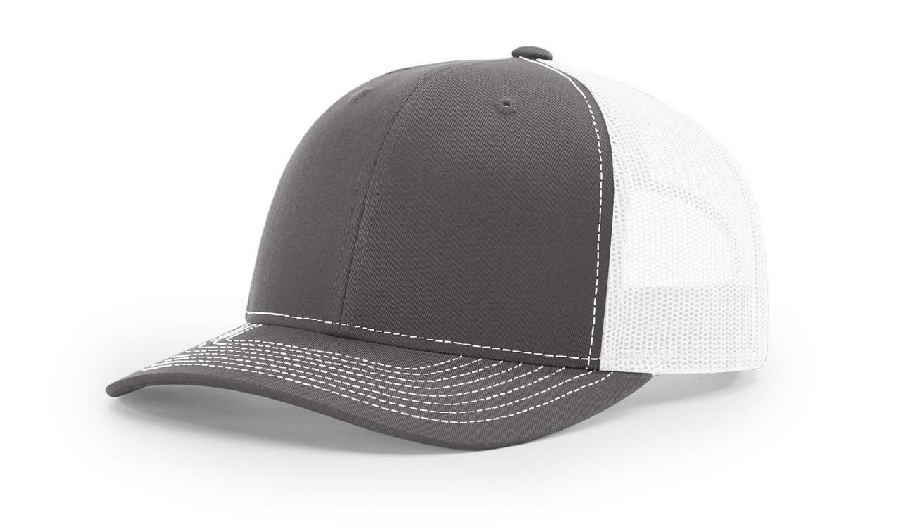 Richardson 112 Trucker Cap Split Charcoal / White Cap Embroidered