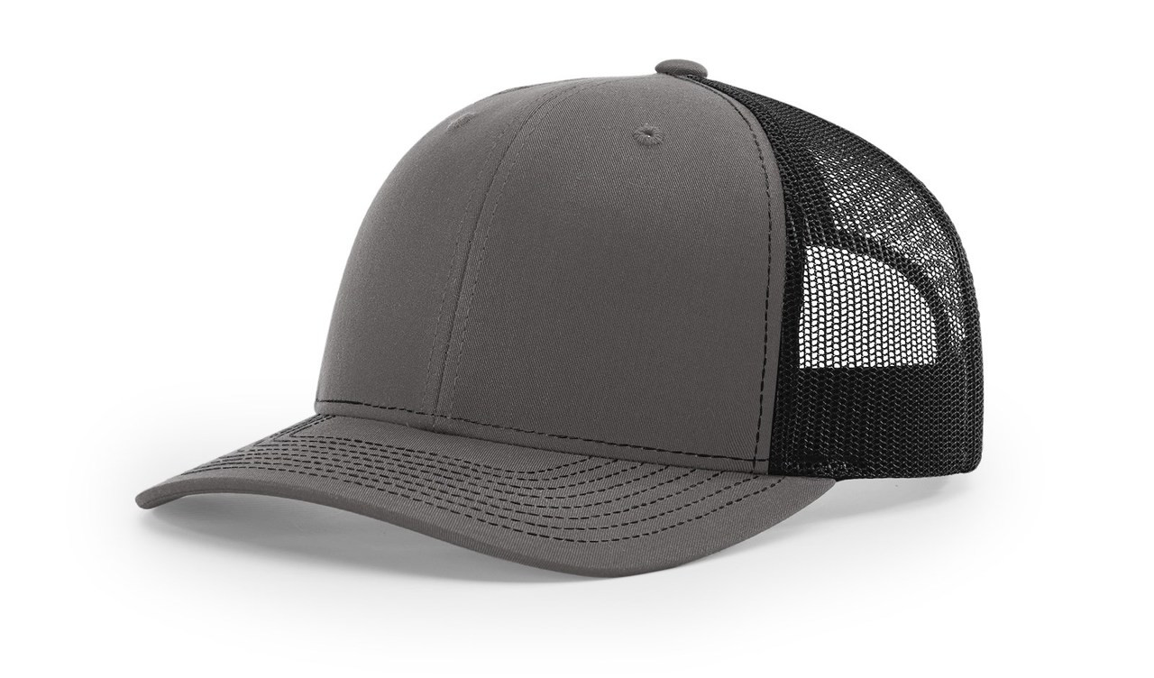 Richardson 112 Trucker Cap Split Charcoal / Black Cap Embroidered