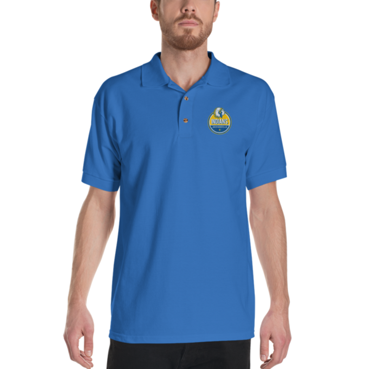 Jacksonville Indian Badge Embroidered Polo Shirt
