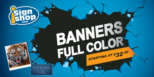 Full color custom printing banners by iSignShop starting at $32.00 each
