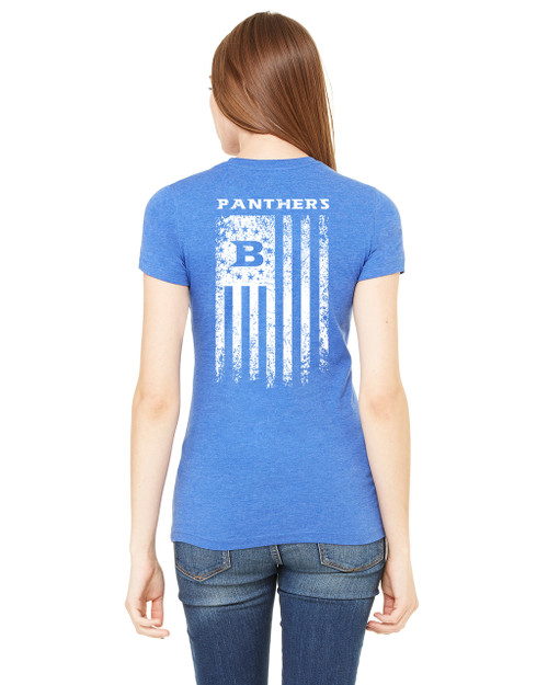 Bella + Canvas Ladies' The Favorite T-Shirt 6004 Heather True Royal, with Bullard Flag Print in White Ink