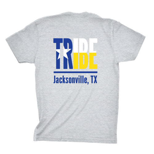Jacksonville Texas Tribe Shirt screen printed on a sport gray shirt back print