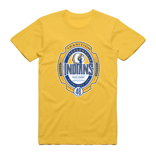 Jacksonville Indians T-Shirt with Medallion Print (Yellow)