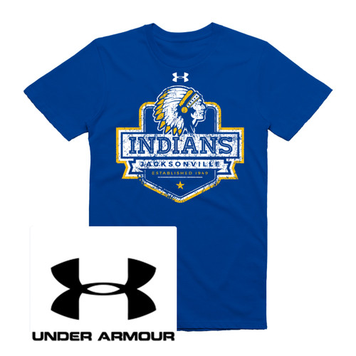 Royal Under Armour t-shirt printed with Jacksonville Texas Indian head dress logo design. Printed here at isignshop