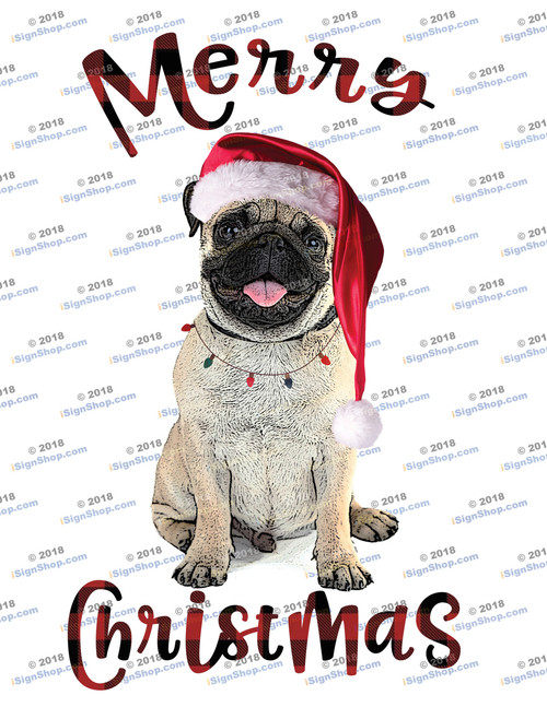 Merry Christmas Pug Sublimation Print