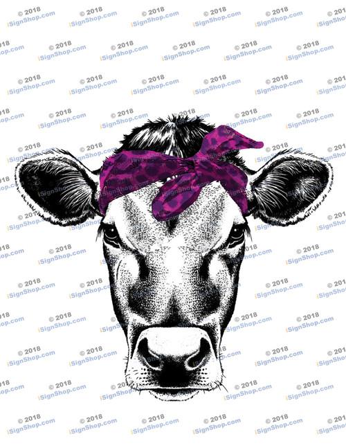 Cow Head with Purple Leopard Bandanna  Sublimation Print