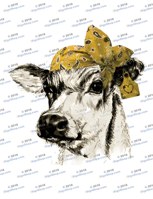 Dairy Cow Head with Yellow Bandanna Sublimation Print
