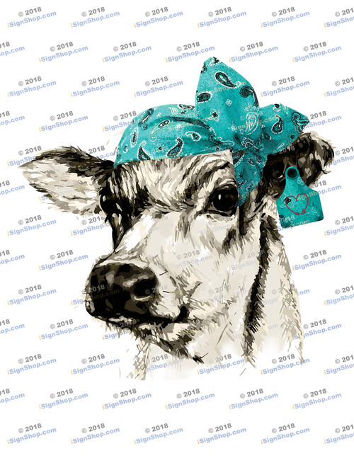 Dairy Cow Head with Teal Bandanna Sublimation Print