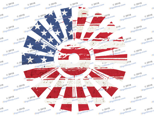 American Flag Windmill Sublimation Print