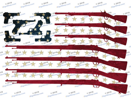 American Flag 2nd Amendment Sublimation Print