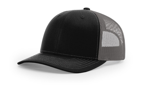 Richardson 112 Trucker Cap Split Black / Charcoal Cap Embroidered
