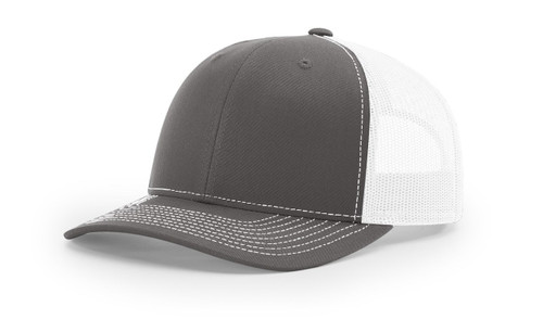 Richardson 112 Trucker Cap Split Charcoal / White Cap Embroidered