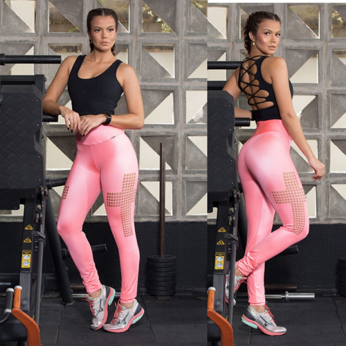BRAZILIAN FASHION LIGHT NEON PINK FITNESS WOMEN LEGGING 031820-LNP
