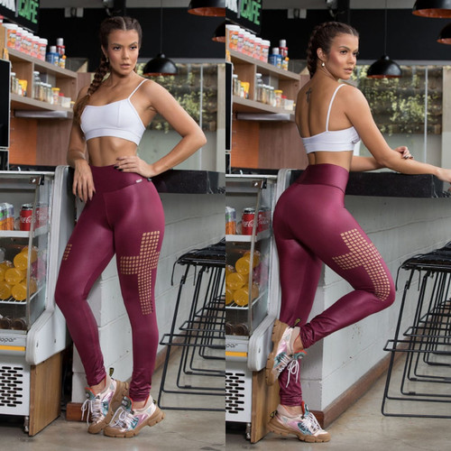 BRAZILIAN FASHION MAROON FITNESS WOMEN LEGGING 031820-M