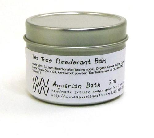 Tea Tree Deodorant Balm 2 oz by Aquarian Bath plastic-free