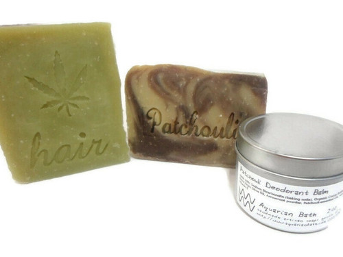 Patchouli set with shampoo, soap, and deodorant