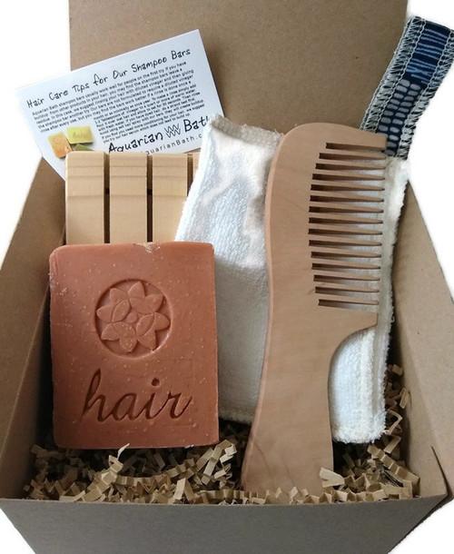 Zero Waste Hair Care Gift Set by Aquarian Bath. Soap deck, Orange Lavender shampoo bar, comb, zero waste soap saver towel