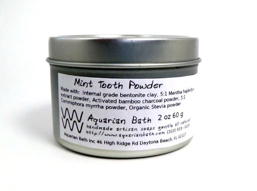 Mint Tooth Powder. 2 oz by weight in metal container by Aquarian Bath