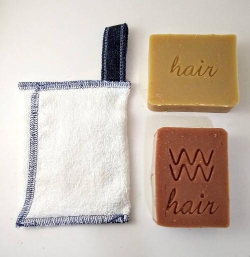 Zero Waste Soap saver with 2 shampoo bars. Vanilla lavender and Rose Geranium are pictured. AquarianBath.com