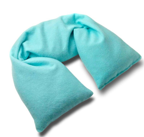 Cozy blue Organic flannel Microwavable neck pillow by AquarianBath.com