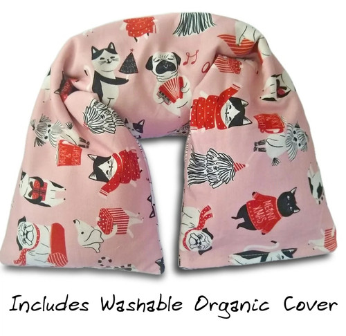 Organic cotton microwavable Neck pillow. Pink cat and dog Christmas pillow. GOTS