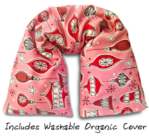 Organic cotton microwavable neck pillow, Vintage Christmas Ornament fabric, GOTS cotton, pink and red, washable cover
