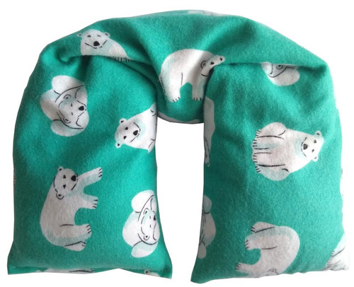 Polar Bear Print Organic cotton Microwavable pillow, turquoise