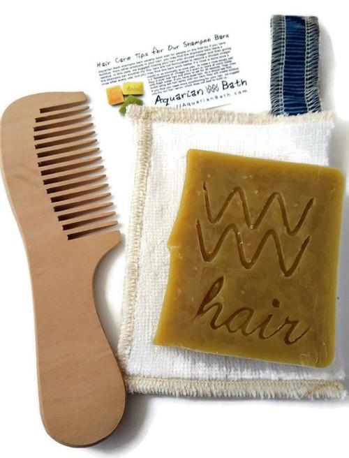 Peach wood comb, Zero Waste Soap Saver, Neem Shampoo