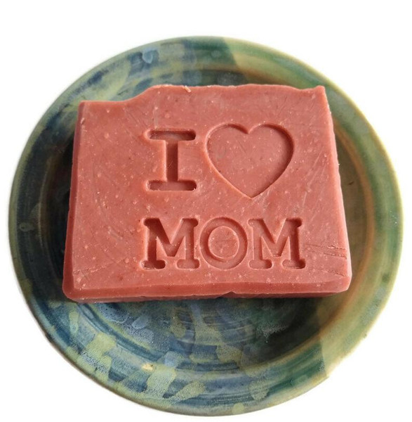 """Pink """"I Heart mom"""" stamped soap"""