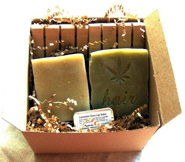 Boxed Gift Set with 2 cedarwood soap decks, soap, shampoo bar, and lip balm